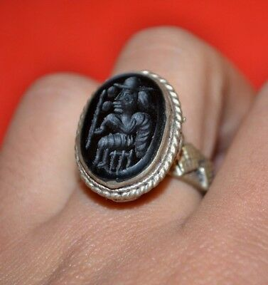 LOW OUTBID 1$ UNIQUE Rare Ancient Silver Intaglio Carnelian Seal Stone Bust Ring