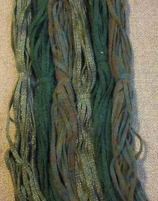 #6 Three Lawn Greens 150 Wool Strips for Primitive Rug Hooking
