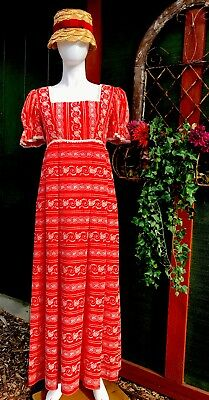Vintage 70's HOUSE OF BIANCHI Red Floral Maxi Dress Prom Garden Boho Chic Party