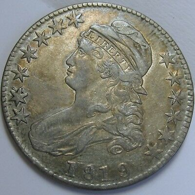 1819/8 Large 9, O-104, Lettered Edge Capped Bust Half Dollar - Very Fine