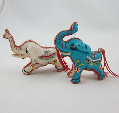 "TWO Embroidered Satin Elephants Cream & Aqua 3"" Tall w/ Trunks Up"