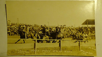 Rppc Postcard 1917  Native American Indian Horse Race - 1St Event Stands Rodeo