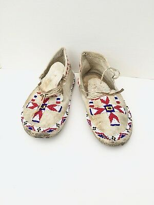 1910s Native American PLAINS~SIOUX INDIAN Decorative Beaded Hide Moccasins