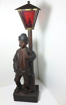 BLACK FOREST KARL GRIESBAUM CARVED WHISTLER WOOD MAN/HOBO ON LAMP POST Needs TLC
