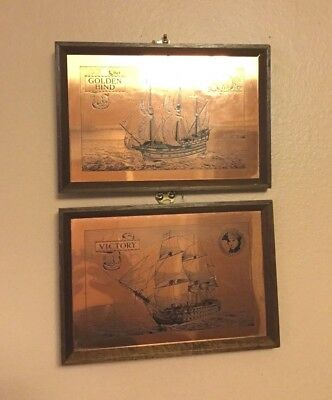 """A Vintage Pair Copper Engravings Of  """"Golden Hind"""" & """"Victory"""" Made In England"""