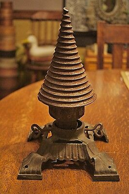 Large Antique Heavy Iron Cone Shaped Drill Bit Collectible Tool Christmas Tree