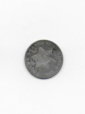 1853 Three Cent Piece Silver Coin