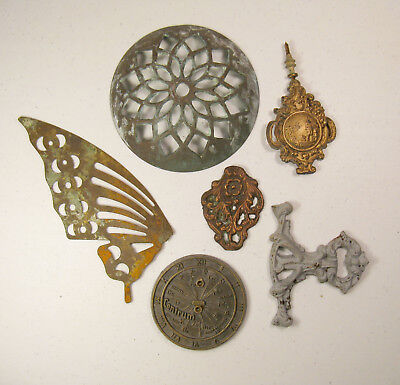 Lot of 6 Vintage Brass & Metal Medallion Ornamental Design Steampunk Art
