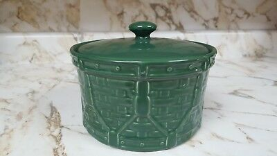 "Longaberger 4"" Storage Crock & Lid Woven Drum Green"