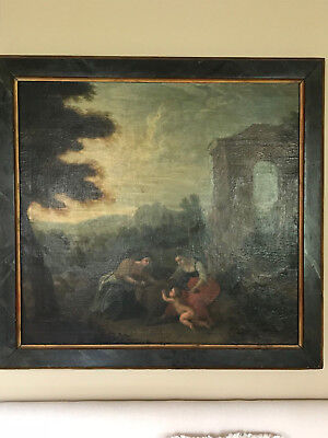 17th C. Old Master Painting Huge Ruins w. Figures Listed Allegorical Antique