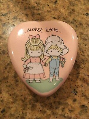 Miniature Sweet Love Joan Walsh Anglund Metal Heart Tin Candle Vintage 1975