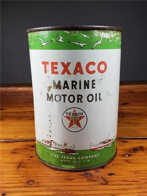 Vintage TEXACO MARINE Motor Oil 1 Quart Metal Empty CAN gas station sign