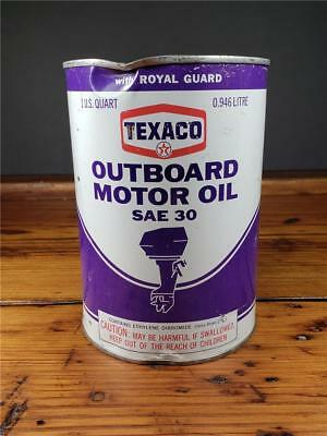 Vintage TEXACO OUTBOARD 1 QT. Motor Oil Metal Empty CAN sign