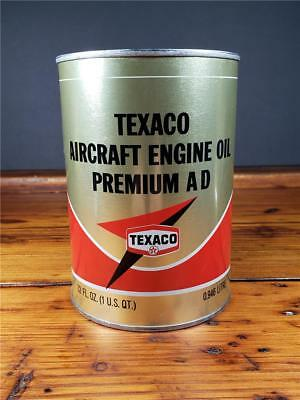 Vintage NOS FULL TEXACO AIRCRAFT ENGINE Motor Oil 1 Quart CAN sign
