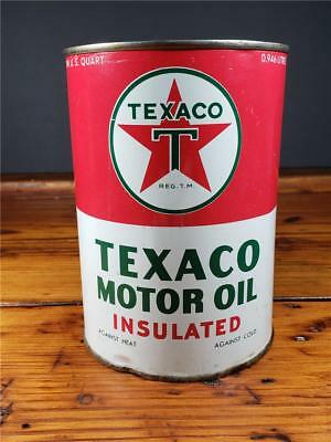 Vintage 1950'S NOS FULL TEXACO INSULATED Motor Oil 1 Quart CAN sign