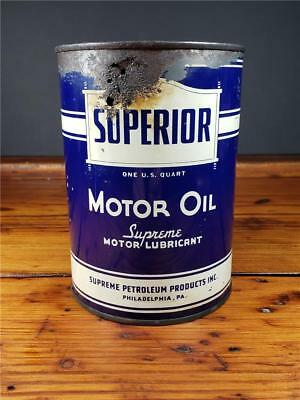 Vintage SUPERIOR 1 QT. Motor Oil PHILLY, PA Metal Empty CAN sign
