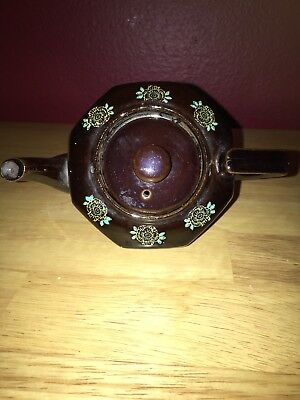 Vintage Octagonal 1cup Teapot With Floral/gold/lid/handled