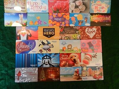 Giant Lot Of Thirty-Three (33) All Different *walmart* Gift Cards