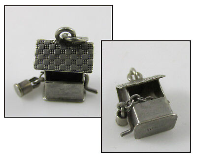 Vintage Sterling Silver Bracelet Charm-Articulated Wishing Water Well w/Bucket