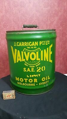 1930s VINTAGE AUSTRALIAN SAE 20 VALVOLINE CAR MOTOR OIL 4 imp gallon TIN DRUM