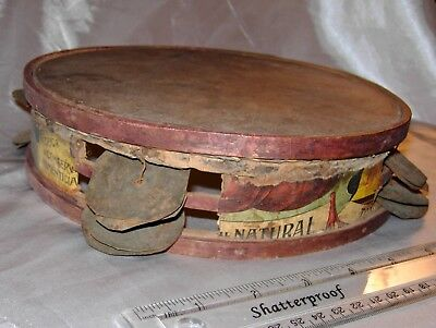 Antique Hand Made Wood Decorated Tambourine Drum Early 1900's Unique Musical
