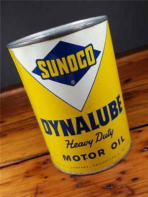 Vintage NOS FULL SUNOCO DYNALUBE Motor Oil 1 Quart CAN sign GAS STATION