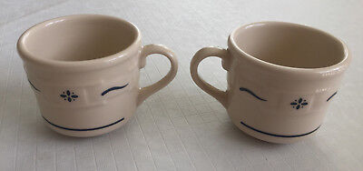 2 Longaberger Pottery Blue Woven Traditions Tea Coffee Cups Great Condition