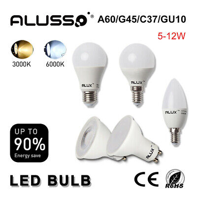 Alux Led Bulbs 5W//6W//7W//12W GU10//E14//E27//B22 Warm//Cool White Energy Save Blubs