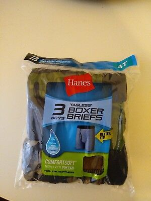 3 Pack Hane's Tagless Toddler Boys' Printed Boxer Briefs Asst Colors 4T