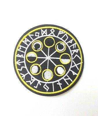Vegvisir Runic Compass Moon Phase, Viking Rune Embroidered Patch Iron-On/Sew-On