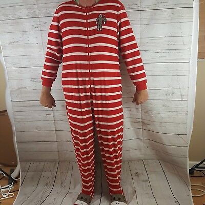 b1f3741a41de NICK   NORA Plush Sock Monkey Red White Striped Fleece Footie ...