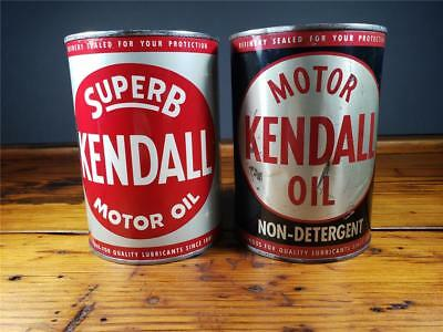 Vintage LOT OF 2 KENDALL 1 QT. Motor Oil PATINA CANS Metal Empty sign