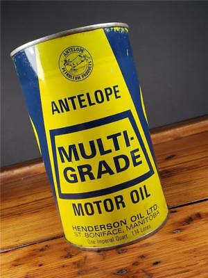RARE Vintage GRAPHIC ANTELOPE Motor Oil CAN CANADIAN 1 IMPERIAL Quart Empty CAN