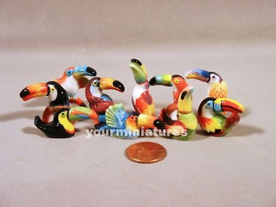 Toucans French Feves Porcelain 10 Figurines Epiphany Cake