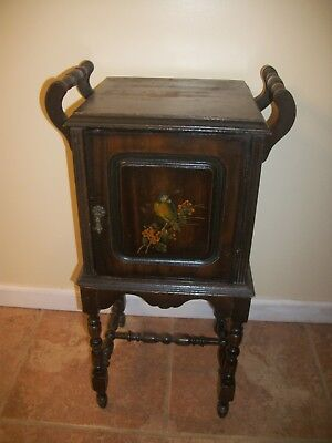 """Antique Vtg 30"""" Hand painted Wooden Tobacco Humidor Copper Lined Stand Table"""