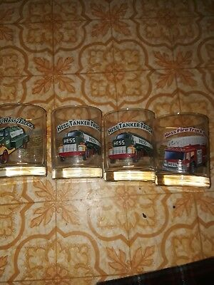 Lot of 4 1996 Hess Truck Collector's Series Glasses in PERFECT condition