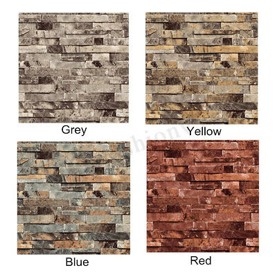 10M 3D Brick Wallpaper Realistic Decal Bedroom Slate Stone Vintage Wall Paper