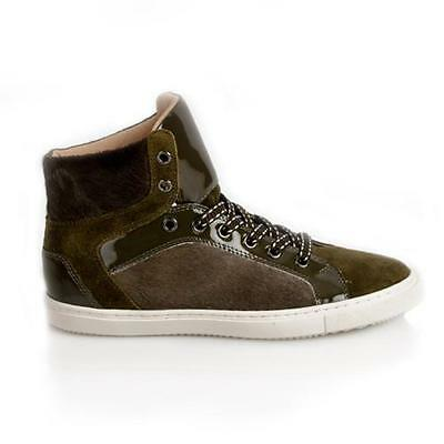 BAIRD ORIGINALS Falkland Olive Goat Fur, Suede, Leather High-Top Sneakers NEW 9