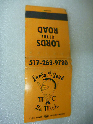 """Vintage match book """"Lords O The Road"""" Motorcycle Club South Michigan"""