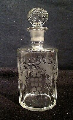 """Vintage Cut Crystal Decanter Etched Grapes and Vines Faceted Sides/ Stopper 7.5"""""""