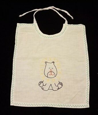 Vintage 1940's 1950's Hand Made Embroidered Baby Bib Lion
