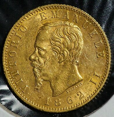 1862 Italy 20 Lire Gold Coin