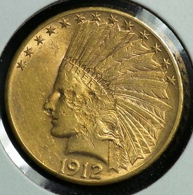 1912 Gold Indian Head Ten Dollar $10 Eagle Coin
