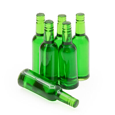 1:12 Miniature 6pcs Green Beer Wine Bottles Set Drink Beverage Model Dollhouse
