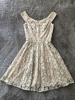 REVIEW Peach Pink Cotton Blend Floral Lace A-Line Fit & Flare Skater Dress - 6
