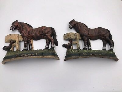 Old Cast Iron Horse and Rooster with Feeder Door Stop Large Size Chicken Painted
