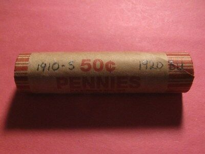 """Sealed Wheat/indian Cent Roll With 1910-S Wheat & 1920 """"bu"""" Wheat Ends"""