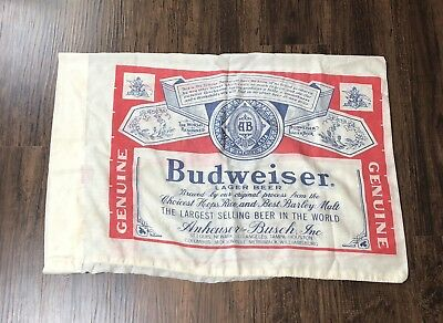 """Vintage Budweiser Pillow Case 30"""" x 20"""" 70s 80s Alcohol Promo Advertising"""