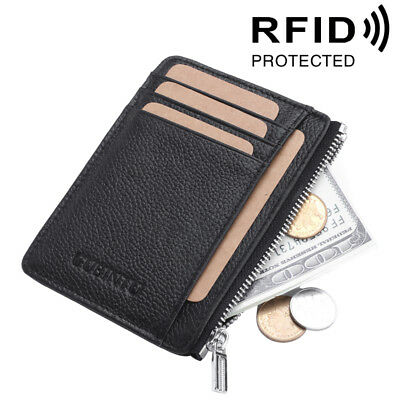 Genuine Leather Mens RFID ID Wallet Slim Credit Card Holder Minimalist Zipped