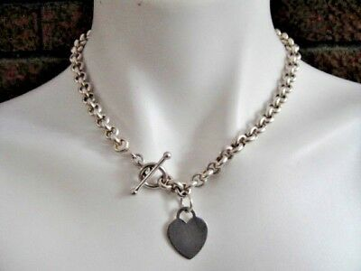 925 Sterling Silver Rolo Chain Toggle Necklace with Flat Heart Tag Pendant 17.5""